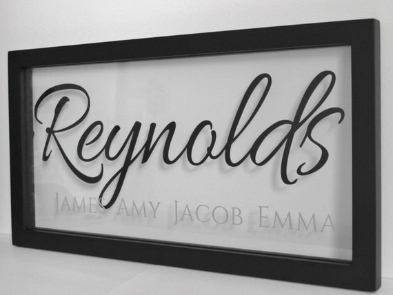 Personalized Picture Frame With Family Name Quote Family: Personalized Floating Frame Last Name With First Names 16x8