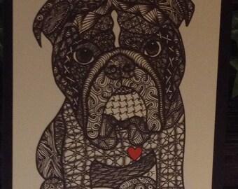 Zentangle Inspired Bulldog Note Card, Bulldog Print, Love Card
