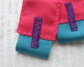 heleen / pink, turquoise and purple fabric earrings / bright colours textile earrings