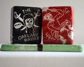 49ers  /  Raiders Salt & Pepper Shakers w/Base