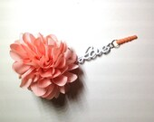 iPhone / Android Dust Plug with Pink Fabric Rose and White Love, Handmade Jewelry by Dreambuzzer on Etsy