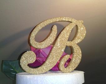 Monogram cake topper 6 inch Golden Glitter