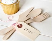 75 Wooden Disposable Utensil Set; Fork, Spoon, Knife, flatware eco-friendly & biodegradable with free printable download.