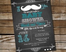 Mustache Baby Shower Invitation for a Boy - Instantly Downloadable and Editable File - Personalize at home with Adobe Reader