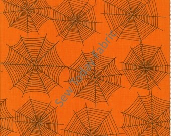 Scaredy Cats Spider Webs Orange - Wilmington Prints Q1862-67512-889 (sold by the 1/2 yard)