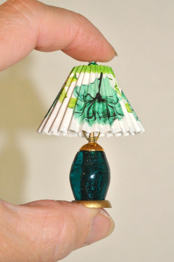 Dollhouse Miniature Table Lamp, Non Working Teal Green Lamp with Shade ...