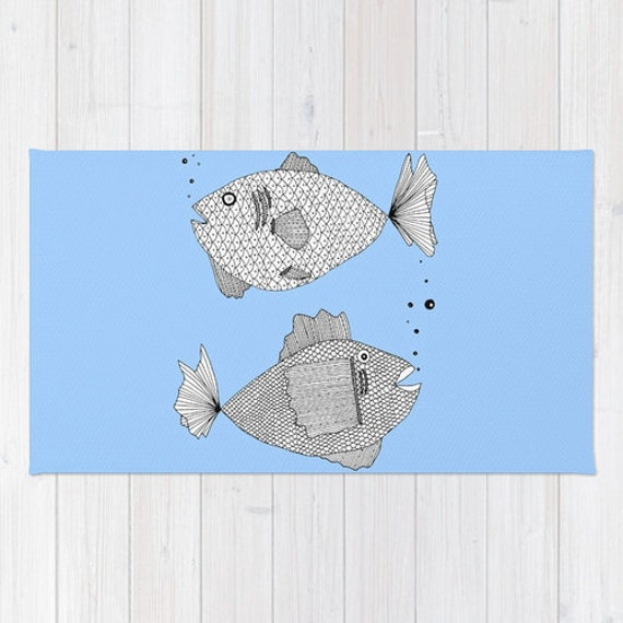 Blue Fish Rug Blue Rug Fish Bath Mat Blue Bath Mat Fish