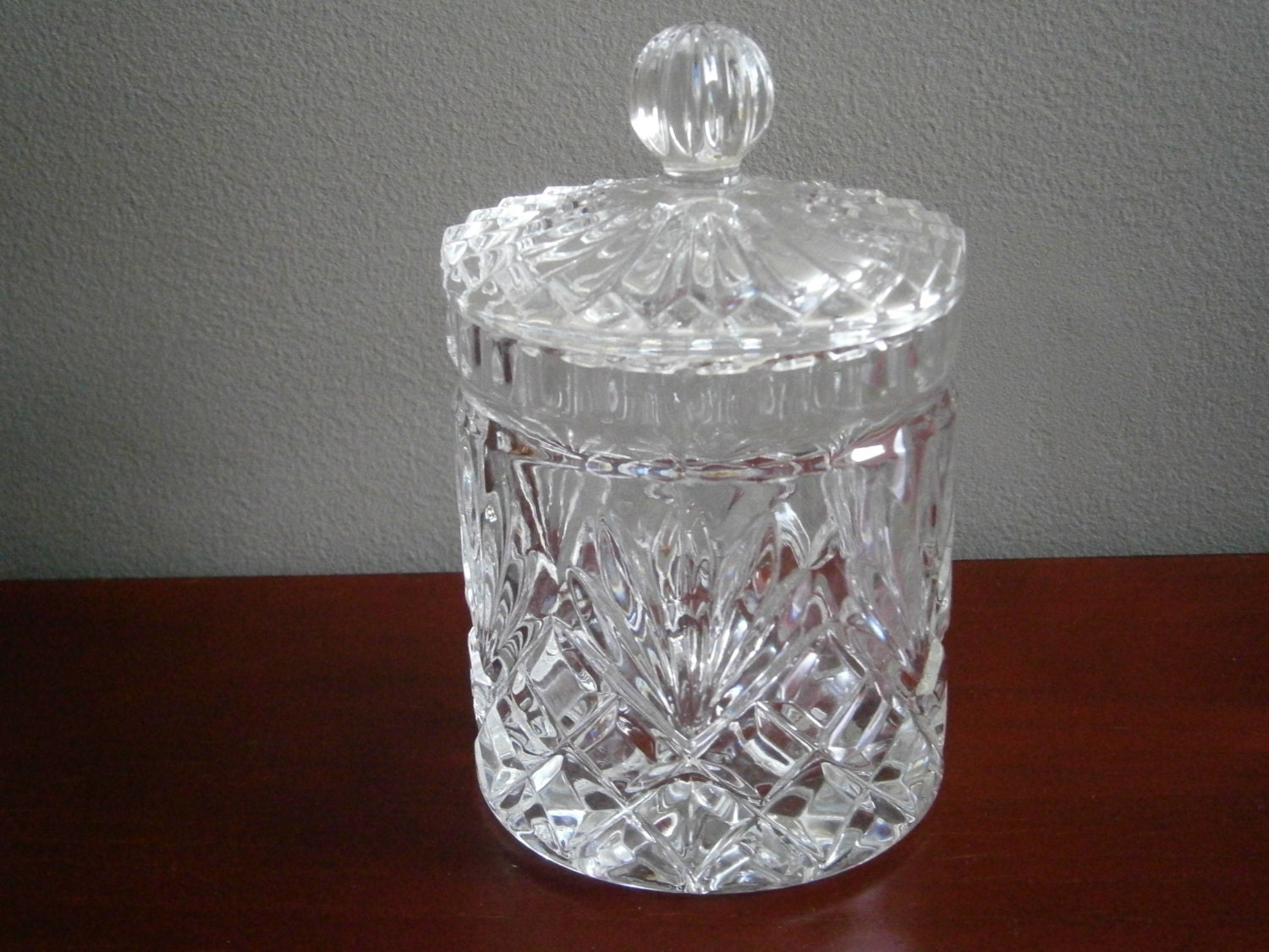 Vintage Cut Crystal Biscuit Jar With Lid