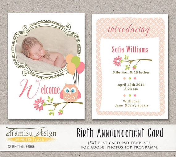 girl birth announcement template photography by tiramisudesign. Black Bedroom Furniture Sets. Home Design Ideas