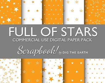 INSTANT DOWNLOAD Full Of Stars Wallpaper Digital Collage Sheets 12x12 inch Set of 10 Digital Papers Orange Citrus Commercial Use SDTE0028