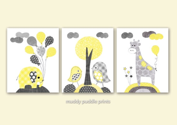 yellow and grey nursery prints nursery decor nursery art. Black Bedroom Furniture Sets. Home Design Ideas