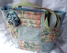 Patchwork Denim Tote Casual Bag, Quilted Bag Summer Tote Bag, Floral Beach Bag  Diaper Bag Travel Shoulder Bag - handmade in denim floral