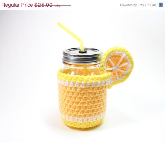 CHRISTMAS IN JULY cij Lemon Mason Jar Tumbler, Crochet Mug Cozy With Cup, Drinking Glass Set, Lemonade Smoothie Jar, Party Pint Glass, House