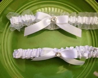 White Organza Wedding Garter Set ...White Organza and Satin - Rhinestone Detail....