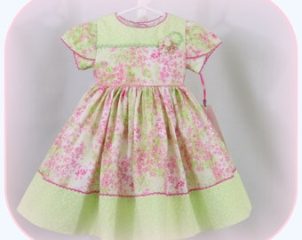 Handmade Baby Girl, Infant Girl, Classic, Special Occasion Dress, Size 3 to 6 Months, Lime Green, Pink and White Floral Prints, Tulip Sleeve