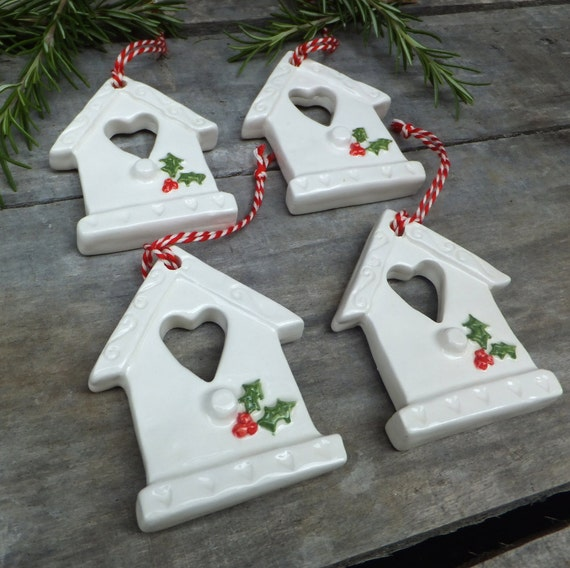 Items similar to bird house christmas decorations ceramic