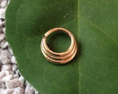 14k Solid Gold 3 Ring Septum Jewelry