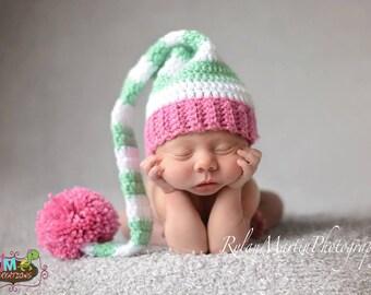 Striped Elf Hat - Mint White & Pink - Newborn through 12 months - Crochet