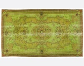 4,5 x 7,8 FT___138 x 237CM          Vintage Green handmade faded-distressed overdyed rug Free shipping (4869)