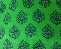 Paisley Print Stamped Extra Wide Linen Fabric in Green Color by Yard