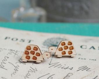 Laser Cut Wooden Turtle Earrings/ Tortoise Earrings