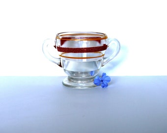 Vintage Glass Sugar Bowl, Red and Yellow Stripe