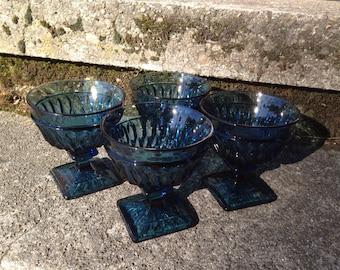 Blue Indiana Glass Pedestal Dessert Dish Mt Vernon Pattern Square Foot Sherbet Set of 4
