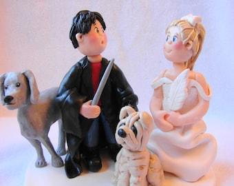 Custom Polymer Clay Wedding Cake Topper, Figurine. A  Handcrafted Art Sculpture.