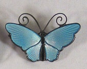 DAVID ANDERSEN Norway Sterling Silver 925 Guilloche Blue Enamel Butterfly Brooch Pin ~ Vintage