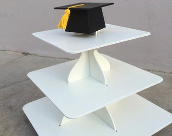 graduation themed 3 tier cupcake stand