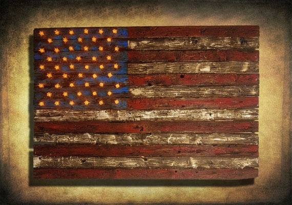 Wood American Flag Wall Art american flag weathered wood edison bulb 3d wooden