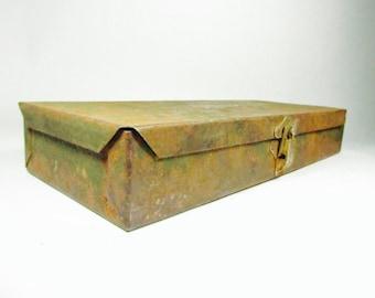 Vintage tool box, metal box, Storage Box, S & K company, Sherman And Klove Company Tool Box
