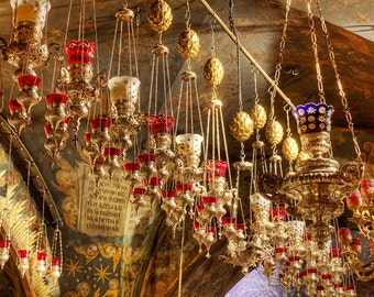 Israel Photography, Church Of The Holy Sepulchre, Jerusalem Old City, Photograph, Golden Lamps.