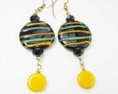 SALE Glossy Black Lampwork Earrings Bright Yellow Green Stripes - Lampwork Earrings - Stripe Earrings