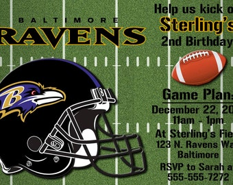 Baltimore Ravens Football Invitations OR Thank you card