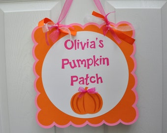 Girly Pumpkin Party Door Sign Pumpkin Patch Door Sign