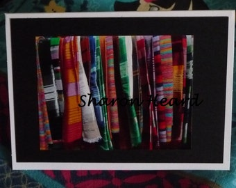 Photograph Card of Fabric in Morocco on Card stock