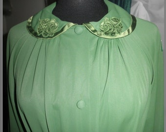 Vintage 60's Gossard Artemis Robe house coat green belted size small