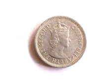 Vintage Belize 1991 5 cents coins. Queen Elisabeth II. diameter 20,2 mm.  art. 0614 Very fine coin. 25 years old.25th birthday