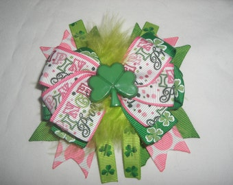 St Patrick's Day Shamrock stacked Hair Bows