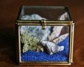 Vintage brass glass diorama- miniature world with serpentine rock