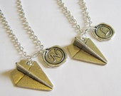 2 Paper Airplane Wax Seal Initial Best Friends Necklaces