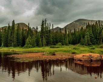 Brainard Lake Colorado Photography, Landscape Photography, Mountains, Lake, Dark Sky, Reflection, Fine Art Photography, Trees, Wall Art