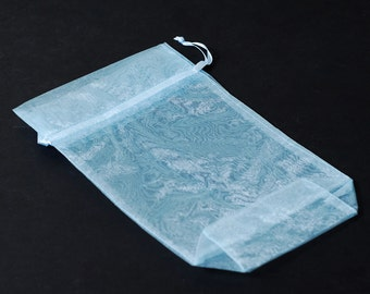 "5.5"" x 9.5"" Light Blue Gusseted Organza Drawstring Favor Bags Satchet Jewelry Pouch Wedding Baby Shower Frozen CD504"