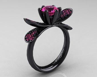 14K Black Gold 1.0 Ct Pink Sapphire Black Diamond Nature Inspired Engagement Ring Wedding Ring R671-14KBGBDPS