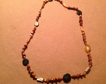 Vintage Multi Brown Color Beaded Necklace