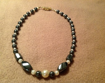 Vintage Hematite and Pearl Necklace