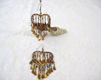 Hearts Earring Chandeliers / Gypsy / pierced earrings / women / women's jewelry / Vintage / teen jewelry