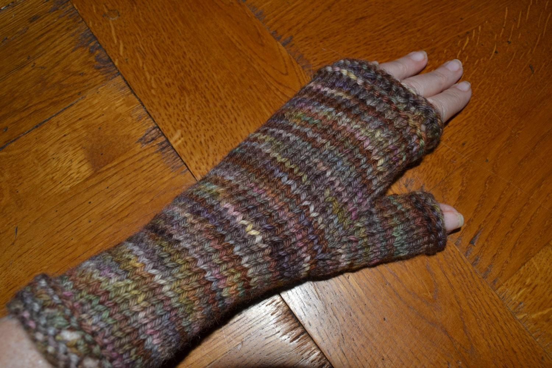Knitting With Arthritic Hands : Hand knit warm fingerless gloves wrist warmersnvariegated