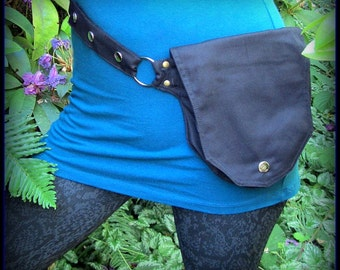 Utility Pocket Belt Bag Black or Steampunk Brown Vegan Canvas ~ Festival Utility Belt ~ small to XL ~ Anti - Fanny Pack ~ passport Holster